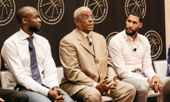 William Parham, Ph.D. (center) was recently named the National Basketball Players Association's first director of mental health and wellness. Also pictured are Keyon Dooling and Garrett Temple.