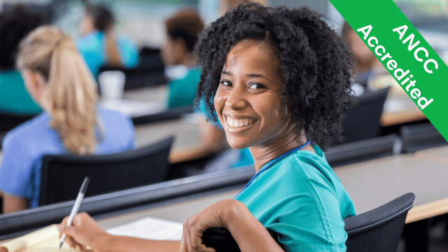 Woman in classroom smiles while taking notes; text reads ANCC Accredited