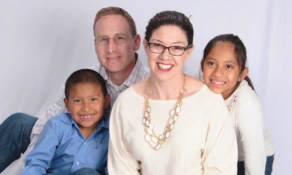 Jeff Long with his son Noah, wife Deb, and daughter Gabi.