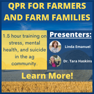 Learn more about QPR training on stress, mental health, and suicide in the ag community.