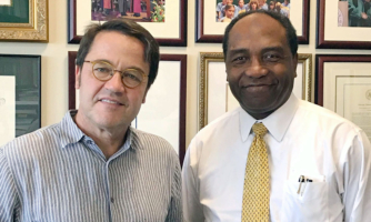John Tisdale, M.D. (left), and Griffin Rodgers, M.D., lead sickle cell disease research at NIH.