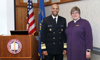 Surgeon General and Vice Admiral Jerome M. Adams, M.D., M.P.H., meets with NLM Director Patricia Flatley Brennan, R.N., Ph.D., at NIH.
