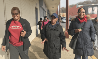 Deborah Nix, left, leads a walking group that started out NIH study on physical activity.