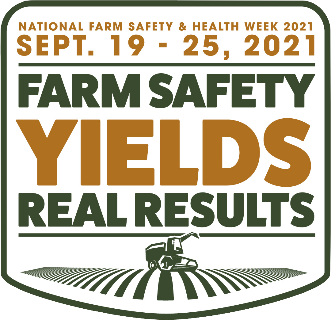 logo for National Farm Safety and Health Week - Farm Safety Yields Real Results in text over drawing of field with combine